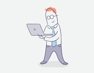 flat line character vector design - businessman standing with laptop computer