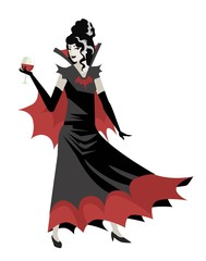 evil woman vampire with blood cup