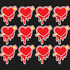 Valentine's day holiday love Big Red Hearts, Vector Illustration