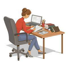 Girl is sitting at a table with laptop, books and documents. Vector illustration.