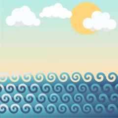 illustration of sea landscape