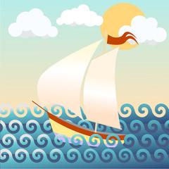 illustration of a ship, seascape
