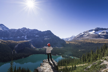 Hiker looking at the view of Alpine mountains and Lake O'Hara from the Alpine circuit trail, Yoho National Park, UNESCO World Heritage Site, Canadian Rockies, British Columbia, Canada, North America