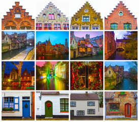 The collage from views of historic medieval buildings along a canal in Bruges, Belgium