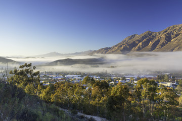 View of mist over Montagu at dawn, Western Cape, South Africa, Africa