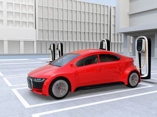 Red electric car charging at charging station. 3D rendering image.