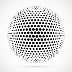 White 3D vector halftone sphere.Dotted spherical background.Logo template with shadow.Circle dots isolated on the white background.