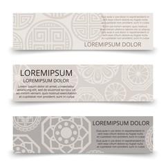 Oriental ornaments banners design - asian japanese chinese korean banner set