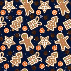 gingerbread pattern man snowflake christmas tree gift orange cinnamon on dark blue sky with snowflakes night winter merry christmas new year seamless vector