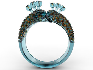 3D concept - glass peacock ring