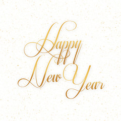 Happy New Year - Can be used for new year card, poster, banner etc. - Gold font on a white background