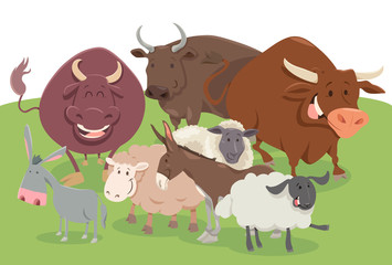 Poster Ranch comic farm animal characters group