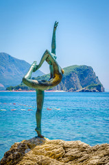 View of  Statue of Ballet Dancer adn island, Montenegro