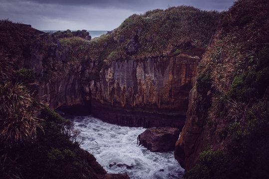 Ocean meats cliffs in New Zealand