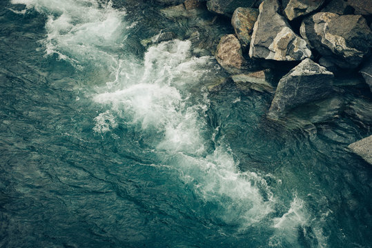 Rushing Mountain Water in a Riverbed