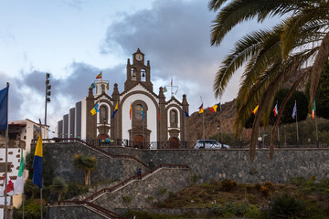 Church at Santa Lucia, Gran Canaria, at the day of the Fiesta for the patron saint, Santa Lucia, december 13, 2017. Spain