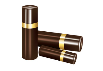 Chocolate packaging in cylindrical tube isolated