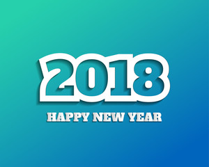 Greeting card design template with Modern Text for 2018 New Year of the Dog. Color number 2018 drawn lettering on colorful background. Vector illustration