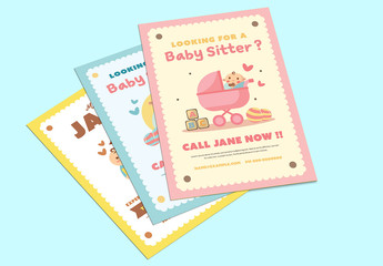 3 Baby Sitter Flyer Layouts