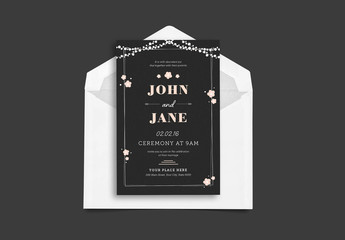 Black Wedding Invitation with Pink Floral Elements