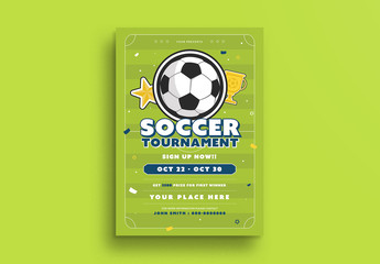 Soccer Tournament Flyer with Green Accents