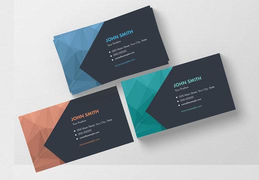 3 Modern Polygonal Business Card Layouts