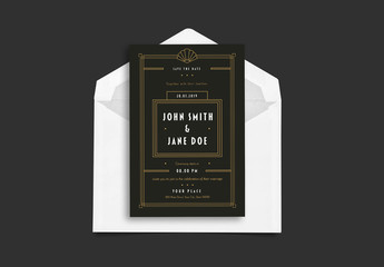 Art Deco Wedding Invitation Layout