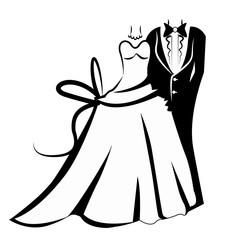 Wedding outfits, bride and groom icon