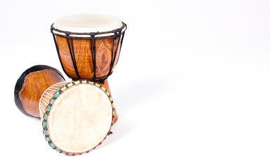Two djembe drums isolated on white - Background
