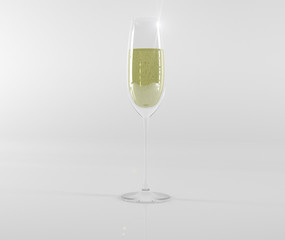 Glass wine glass with champagne