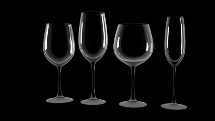 Diferrent wine glasses on black background.