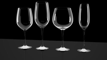 Diferrent wine glasses on shiny a desk.