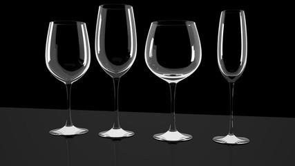 Diferrent wine glasses on shiny a desk.  Clean and shiny empty cleaner glasses on the shiny desk. Beautiful design.