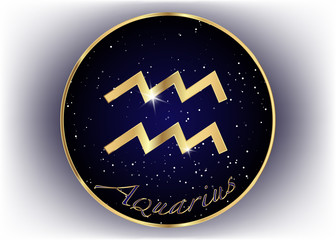 Gold Aquarius zodiac constellations sign on beautiful starry sky with galaxy and space behind. Aquarium horoscope symbol on deep cosmos background. vector isolated