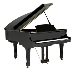 Grand piano black with clipping path.