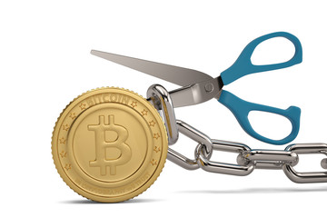 Scissors with iron chain and gold bitcoin.3D illustration.