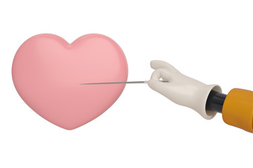 A cartoon hand with a needle pierces the heart. 3D illustration.
