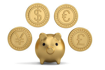 Gold coin and piggy bank.3D illustration.