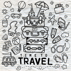 Set of hand drawn travel doodle. Vector illustration. Tourism and summer sketch with travelling elements: bag, balloon,fin, sunglasses, camera, cocktail, ticket.