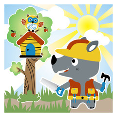 rhino cartoon the builder