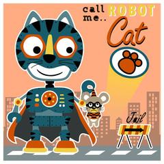 Cat robot cartoon in action