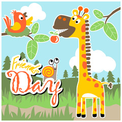 cute animals cartoon on blue sky background
