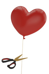 Scissors and heart balloon on white background 3D illustration.