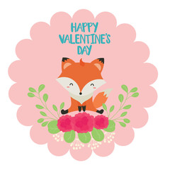 Happy valentines with cute fox