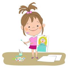 Изолированная иллюстрация с изображением маленькой радостной девочки, которая держит в одной руке нарисованный рисунок принцессы, а в другой руке - кисточку с краской.