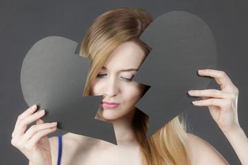 Unhappy woman with broken heart.