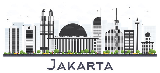 Jakarta Indonesia City Skyline with Gray Buildings Isolated on White Background.