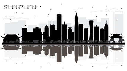 Shenzhen China City skyline black and white silhouette with Reflections.