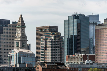 View of the historic Custom House skyscraper clock tower and skyline of Boston Massachusetts USA