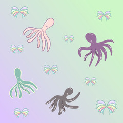 four octopus on gradient background